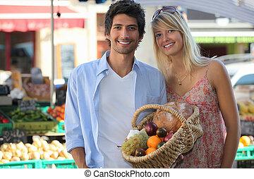 paar, shoppen , markt