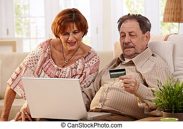 paar, shoppen, senioren, online