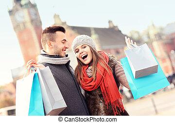 paar, shoppen, stadt