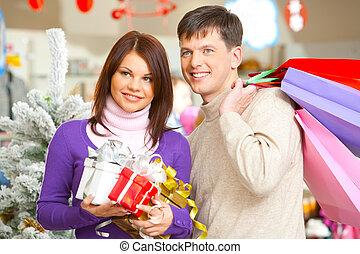 paar, shoppen