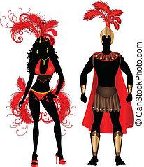 paar, silhouette, carnaval, rood