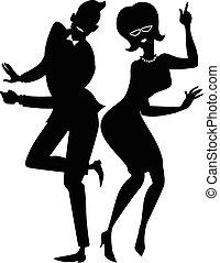 paar, silhouette, draaien