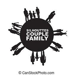 paar, silhouette, familie