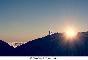 paar, silhouette, halten hände