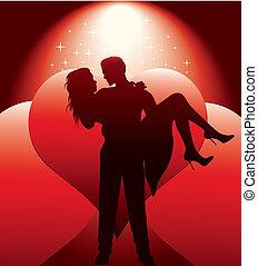 paar, silhouette, met, hartjes
