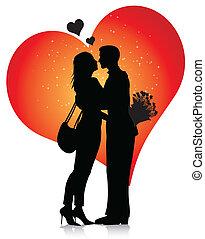 paar, silhouette, mit, herzen