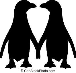 paar, silhouette, penguin