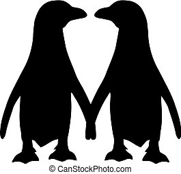 paar, silhouette, pinguin