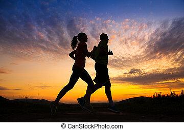 paar, silhouette, rennende