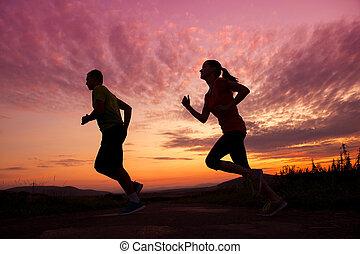 paar, silhouette, rennender