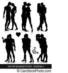 paar, silhouette, satz