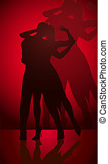 paar, silhouette, tanzen