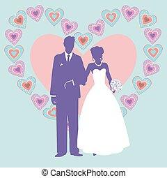 paar, silhouette, trouwfeest