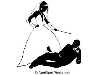 paar, silhouette, wedding