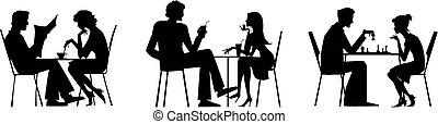 paar, silhouetten, bei, tisch