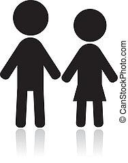 paar, silhouetten