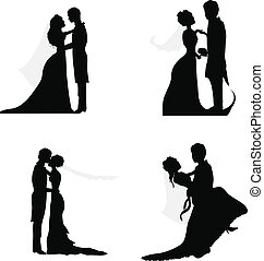 paar, silhouetten, wedding