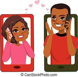 paar, smartphone, liebe