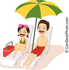 paar, sonnenbaden, entspannend