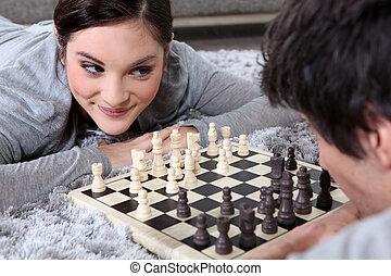 paar, spielenden schach