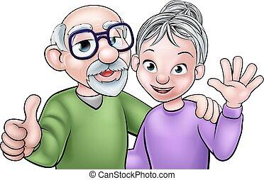 paar, spotprent, bejaarden