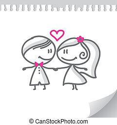 paar, spotprent, trouwfeest
