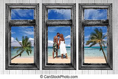 paar, strand, amercian, afrikaan