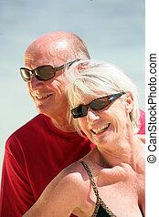 paar, strand, bejaarden