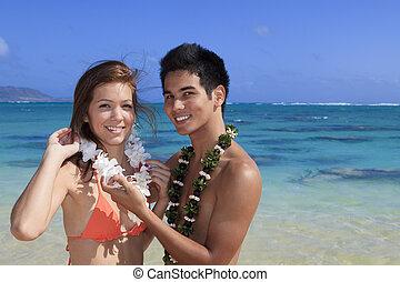 paar, strand, jonge, hawaii