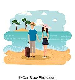 paar, strand, jonge, koffer