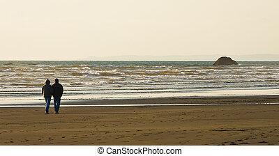 paar, strand, langs, samen, wandeling