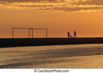 paar, strand, rennende , dageraad