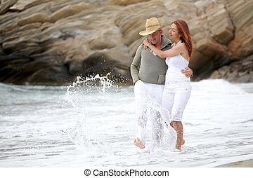 paar, strand, romantische, jonge