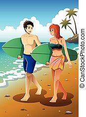 paar, strand, surfer