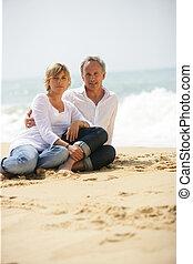 paar, strand, volwassene