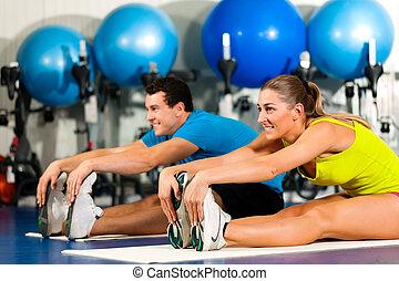 paar, stretching, gym