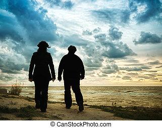 paar te lopen, op, strand