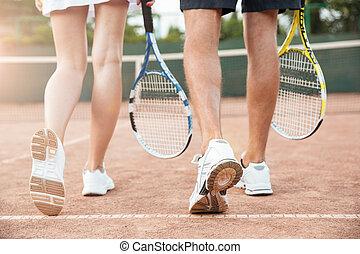 paar, tennis, hinterer blick