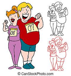 paar, toevoegen, marathon, gewicht, verliezen