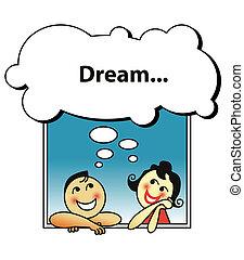 paar, träumende