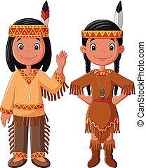 paar, traditionele , amerikaan indiaas, kostuum, spotprent, inlander
