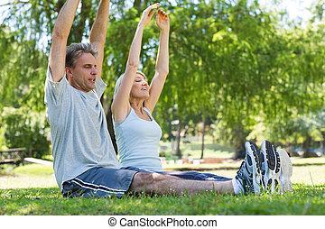 paar, trainieren, park