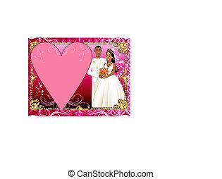 paar, trouwfeest, 3, mal, uitnodiging