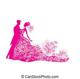 paar, trouwfeest, achtergrond, dancing