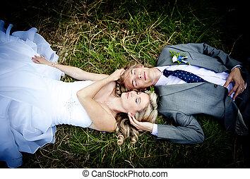 paar, trouwfeest, mooi