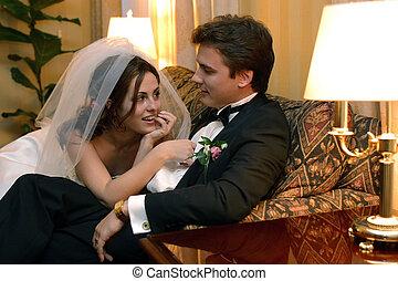 paar, trouwfeest, newlywed, dag