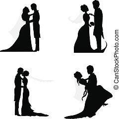 paar, trouwfeest, silhouettes