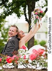 paar, trouwfeest, -, vrolijke