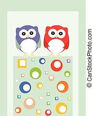 paar, uilen, vogels, op, een, boompje, branch., vector, achtergrond.