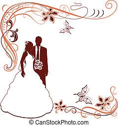 paar, uitnodiging, trouwfeest